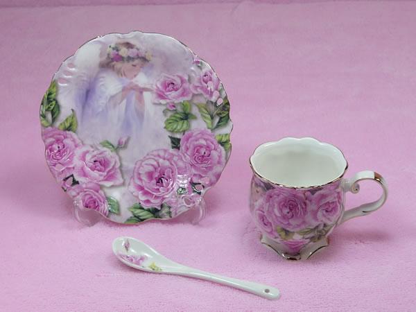 カップ&ソーサー スプーン付 エンゼルローザ