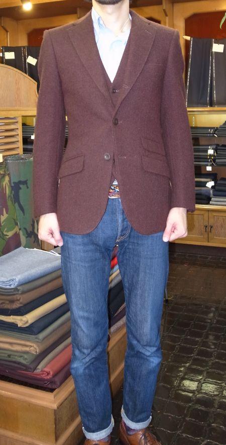 ジーンズに合うハリスツイードのジャケット&ベスト