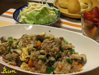 Mar25_豚の生姜焼き炒飯