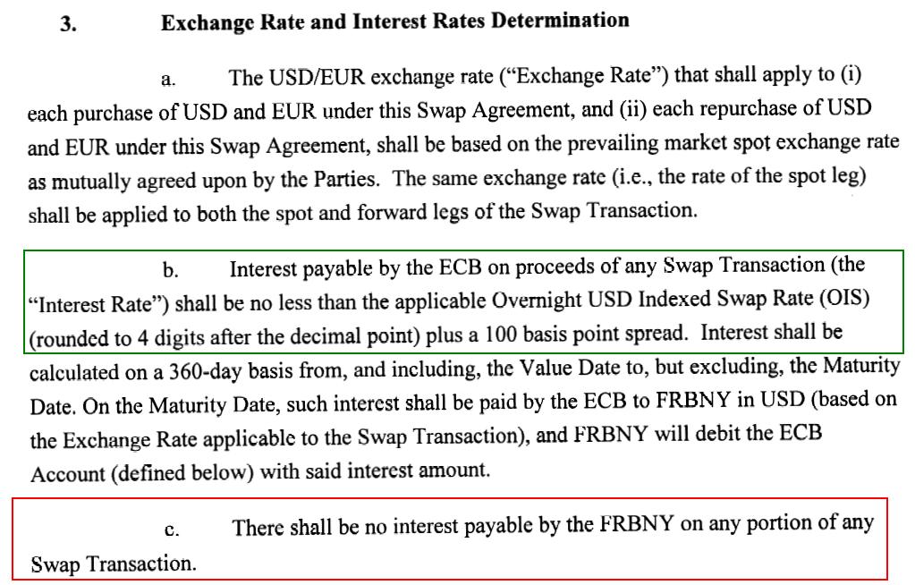 通貨スワップ協定の為替レートと金利