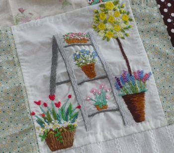 母カフェカーテン 刺繍