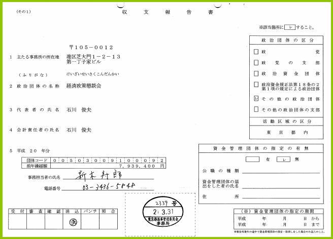 渡辺氏の資金管理団体