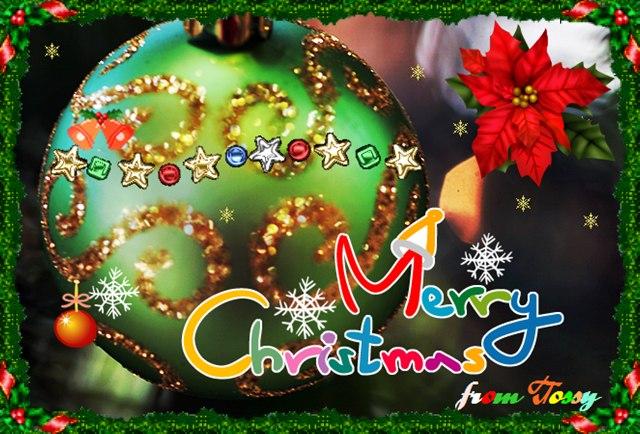 クリスマスカード グリーンオーナメント