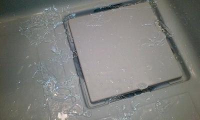 風呂場に氷