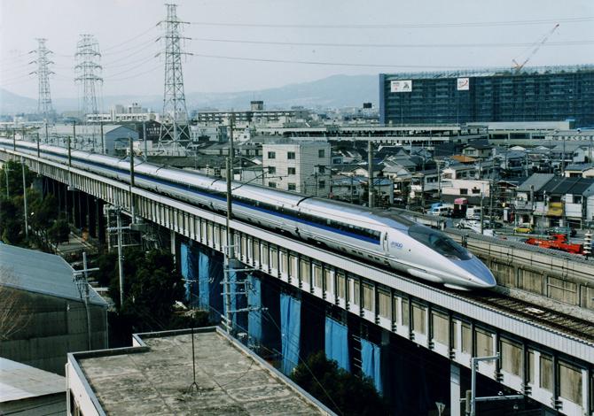 01・500系のぞみ(猪名寺交差地点)お披露目1997.03.09