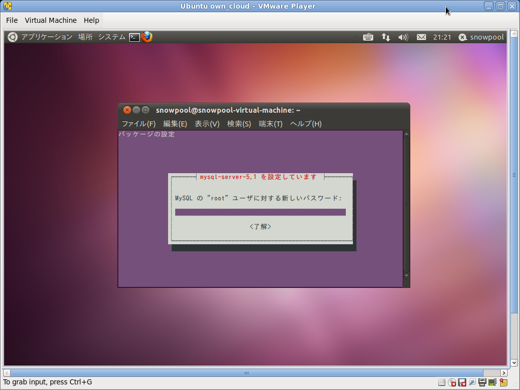 Screenshot-Ubuntu own_cloud - VMware Player-1