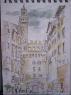 スケッチフィレンツエ、ヴェッキオ宮殿望む100202_1201~0001