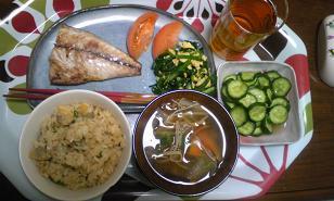 あさりご飯とサバの塩焼き