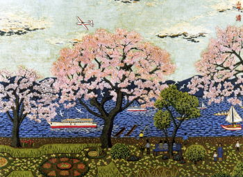 諏訪湖の桜-貼絵