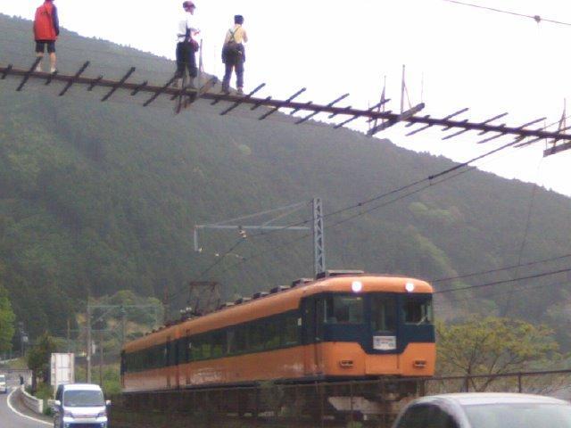 大井川の吊り橋とかつての近鉄特急