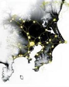 粘菌の都市間ネットワーク作成実験3