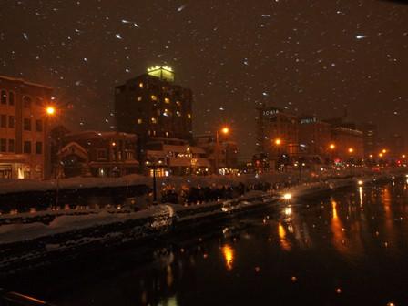 25 小樽運河夜景雪 P2106711