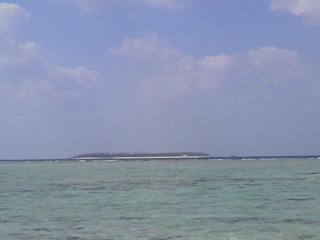 白浜の先んに珊瑚の島