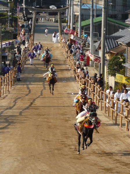 菊間祭り お供馬の走り込み 1