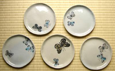 蝶のお皿五枚組01