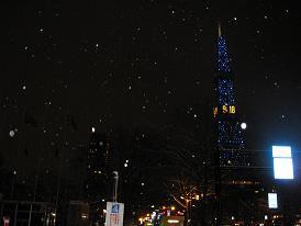 雪のテレビ塔