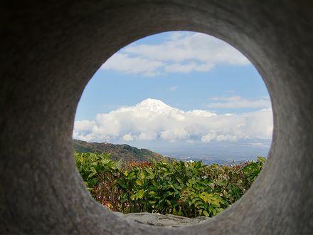 石碑の穴から見た富士山