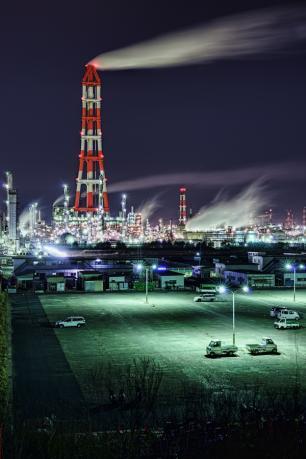 鹿島臨海工業地帯の砂山都市緑地の夜景
