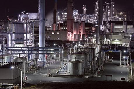鹿島臨海工業地帯の砂山公園からの夜景