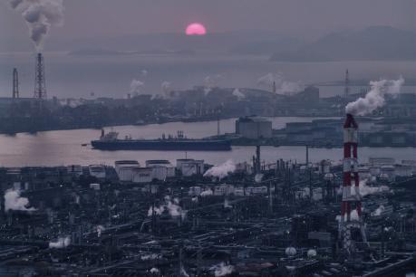 水島コンビナートの日没