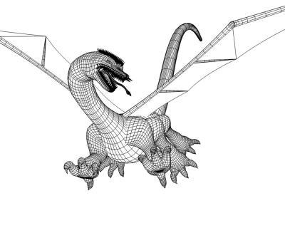 3D西洋ドラゴンワイヤーフレーム2
