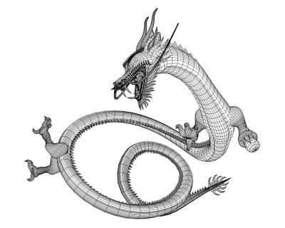 3Dドラゴン(東洋の龍)ワイヤーフレーム2