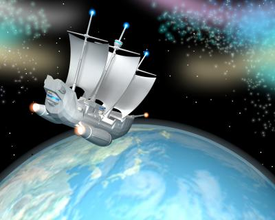 3D帆船と地球画像120205