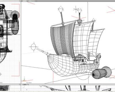3D帆船ワイヤーフレーム1202051