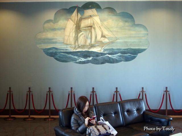 帆船の壁画