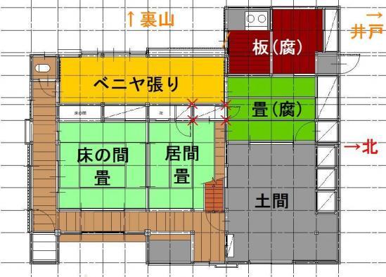 注文の多い古民家現状平面図間取り1階