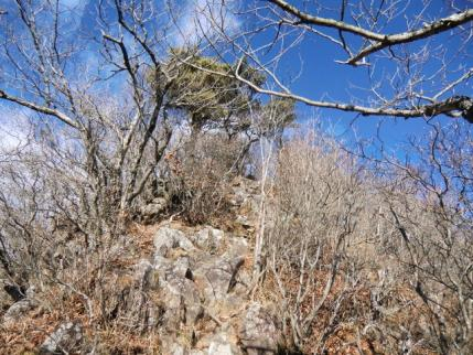 岩場の稜線を登り