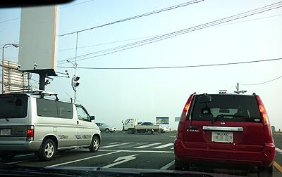 福山市街地も濃霧で真っ白