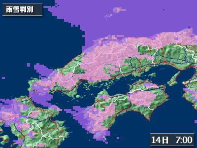 中国地方雨雪判別(Yahoo!天気情報)