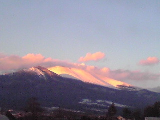 浅間山夕日