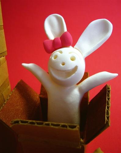 段ボール子ウサギ
