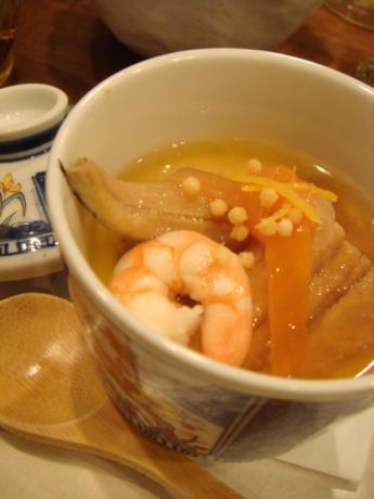 穴子と赤飯の茶碗蒸し