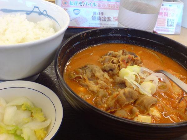 豆腐キムチチゲセット@松屋
