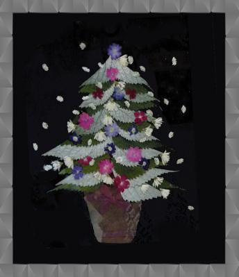 押し花のクリスマスツリー2009