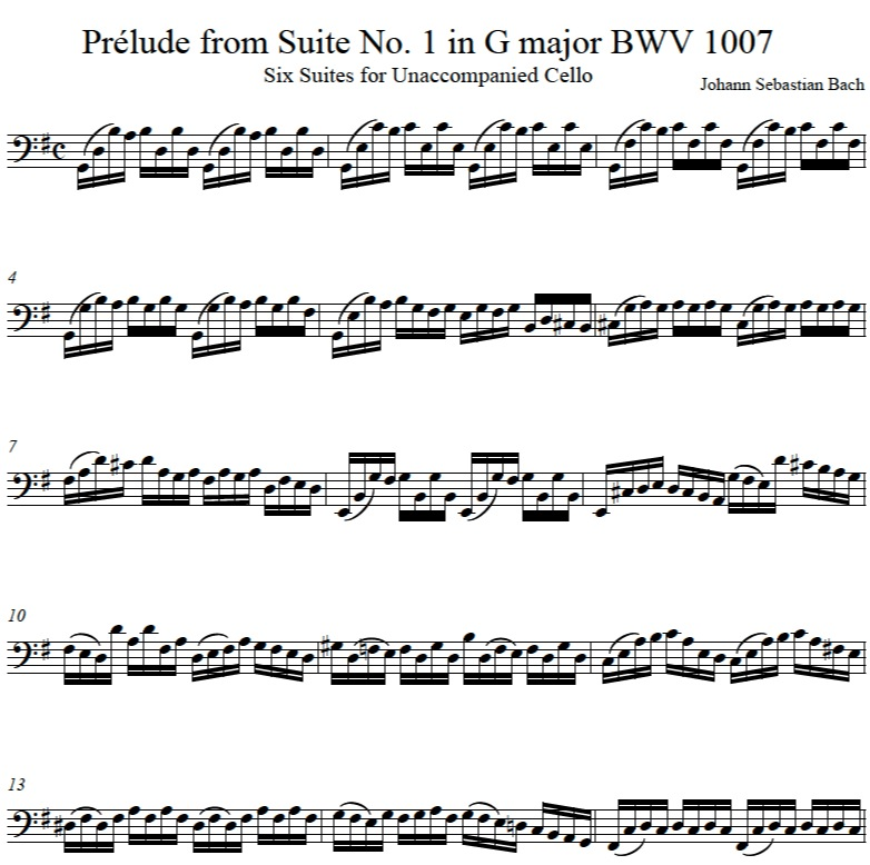 JS Bach BWV1007 Suite 1 Prelude