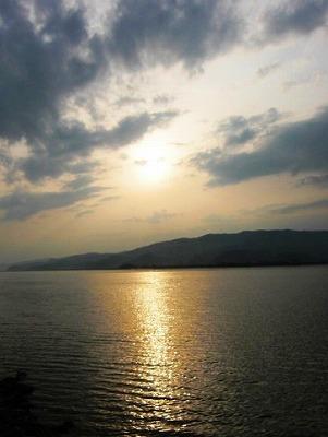 北上川の夕日
