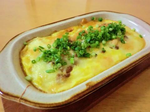 豆腐と卵の納豆グラタン
