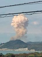 下関三井化学工場爆発のキノコ雲