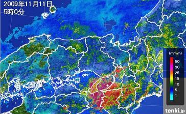 2009年11月11日05時 レーダー和歌山 WS000195