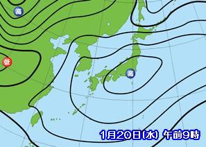 天気図 2010年1月20日の予想図(1週間前)