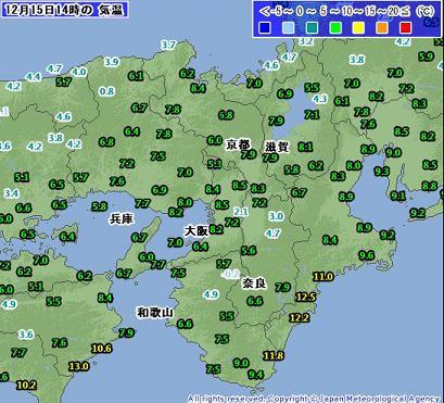 気温 2010年12月15日14時