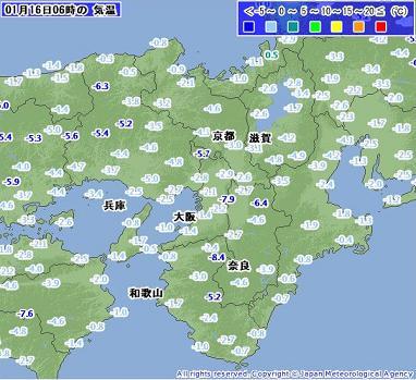気温 2011年1月16日6時