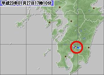 気象レーダー 霧島噴煙 17時10分
