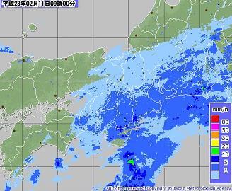 気象レーダー 2011年2月11日09時