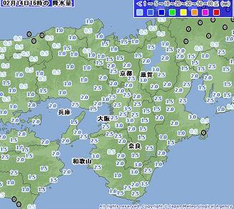 雨量 2011年2月14日16時