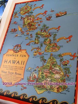 201101 マウイ島のラハイナで、お気に入りなハワイの地図は、Hawaii Tourist Bureau ♪